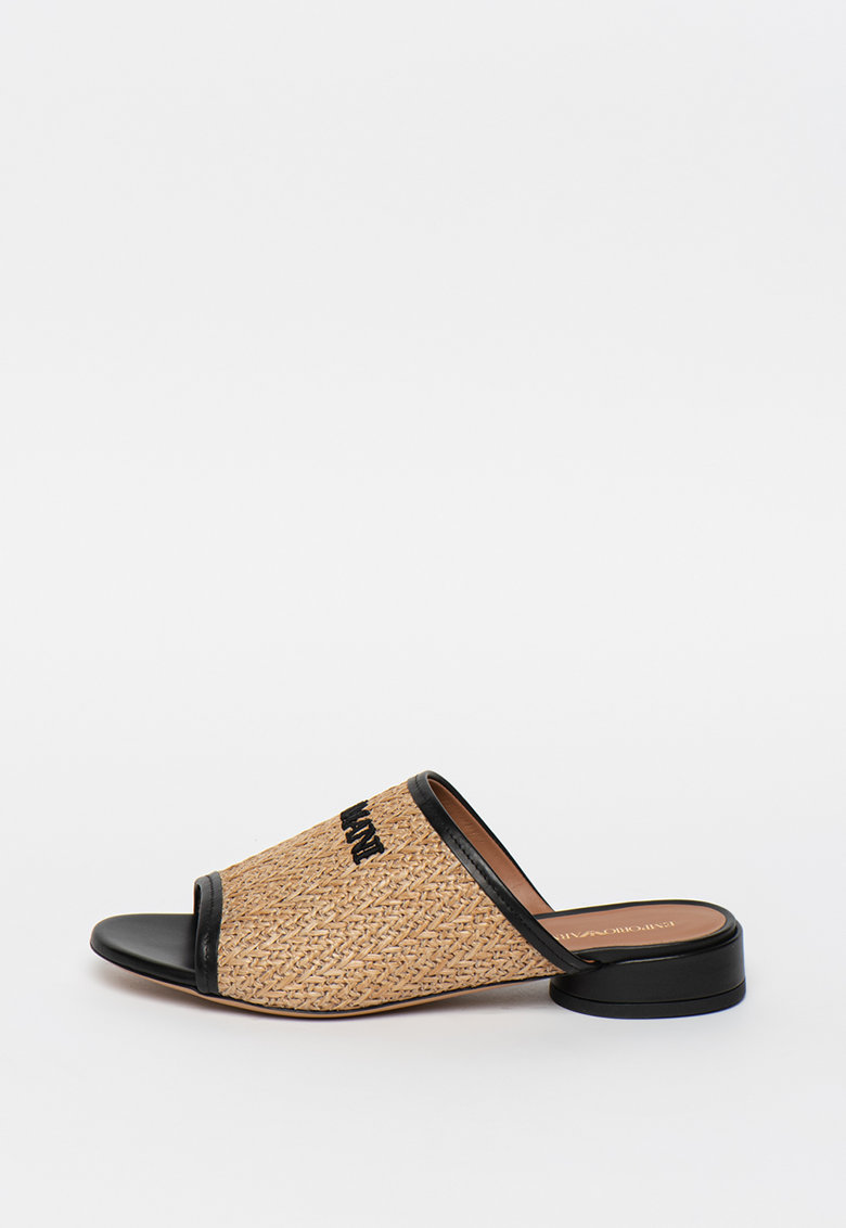 Papuci cu toc - model tesut si garnituri de piele
