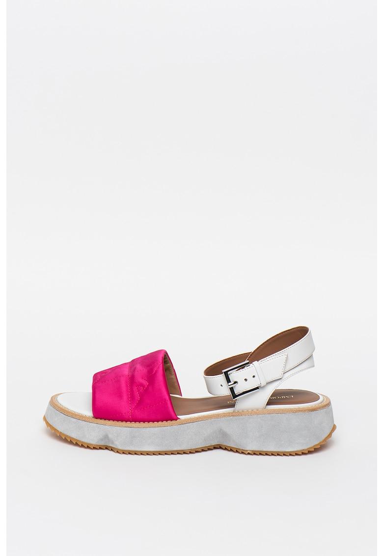 Sandale wedge de piele si material textil