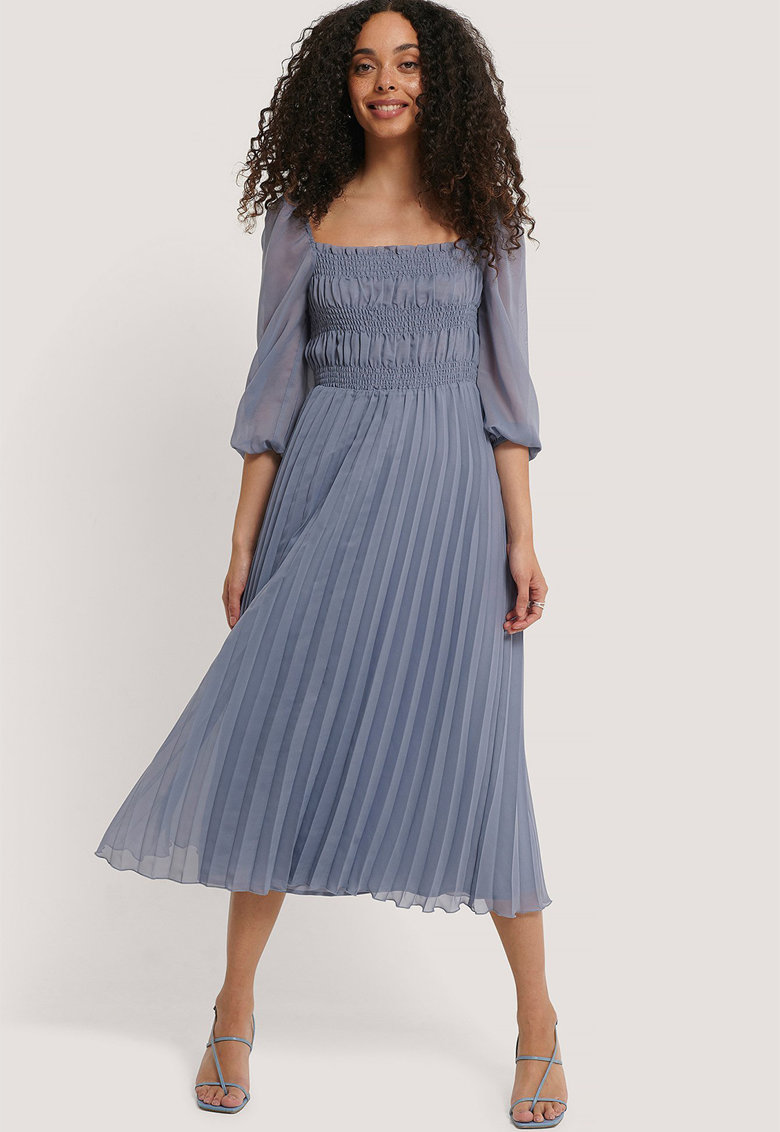 Rochie cu pliuri si insertie elastica in talie