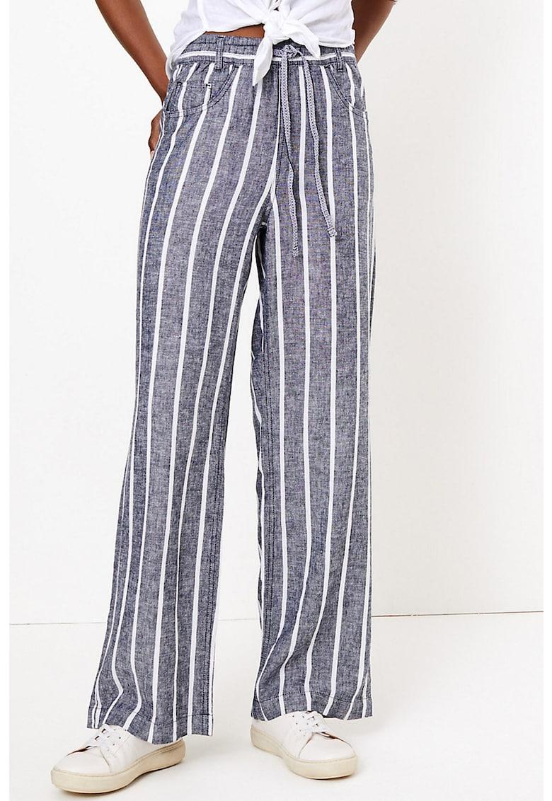 Pantaloni din amestec de in - cu dungi imagine fashiondays.ro