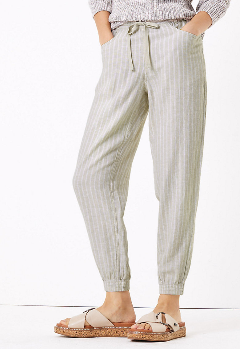Pantaloni din amestec de in imagine fashiondays.ro
