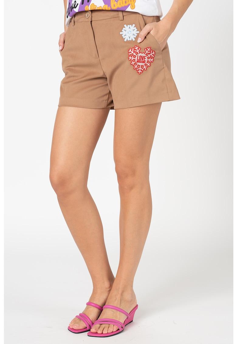 Pantaloni sport chino cu aplicatii brodate