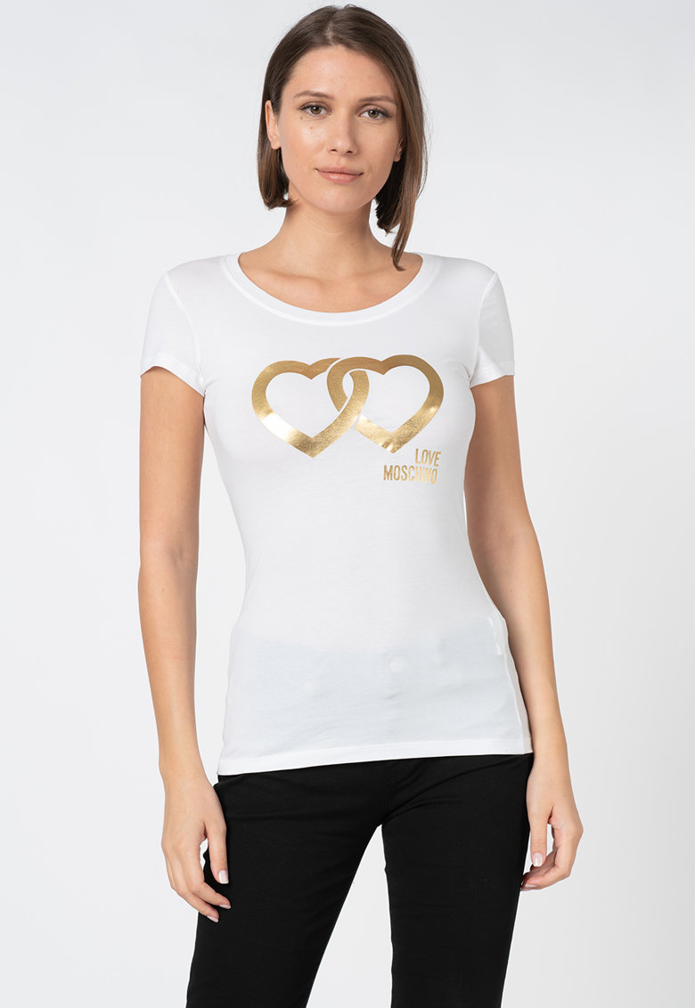 Tricou cu imprimeu metalizat Love Moschino fashiondays.ro