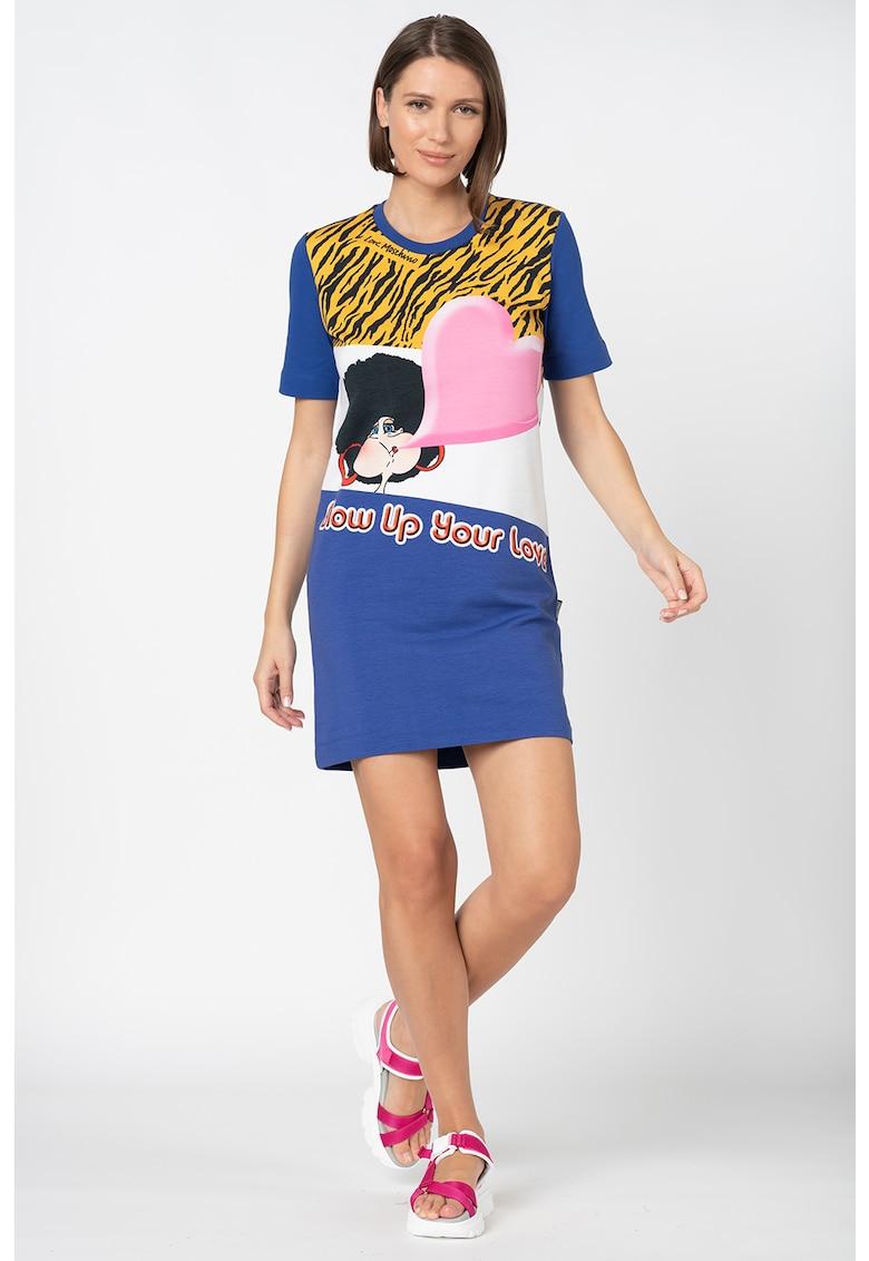 Rochie mini tip tricou - cu imprimeu grafic