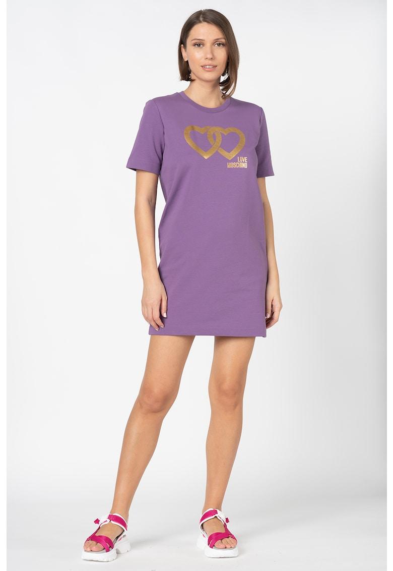 Rochie mini tip tricou - cu imprimeu grafic metalizat