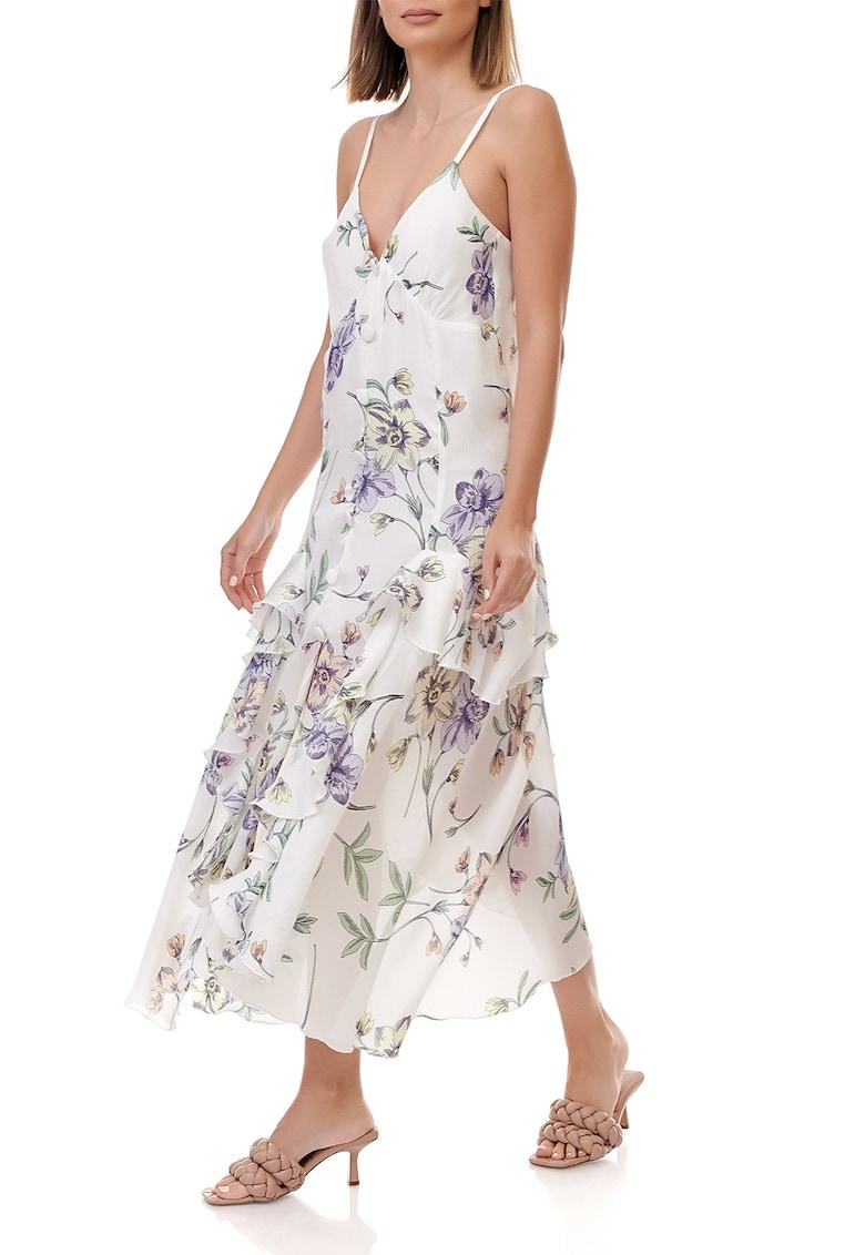 Rochie din viscoza cu imprimeu floral si decolteu in V