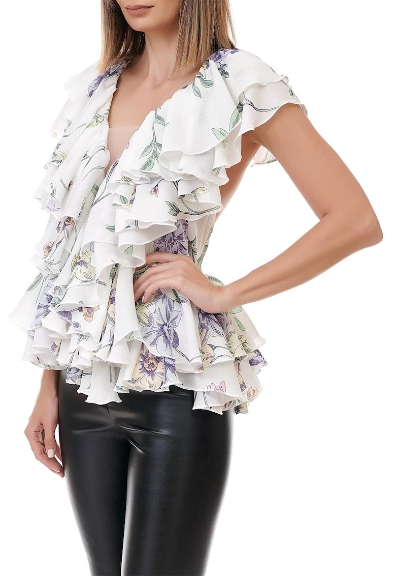 Bluza din viscoza cu imprimeu floral si decolteu in V