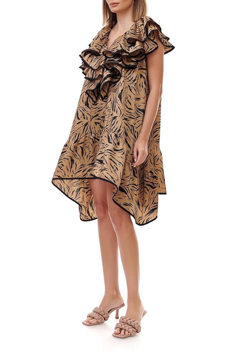 Rochie din viscoza cu imprimeu si terminatie asimetrica