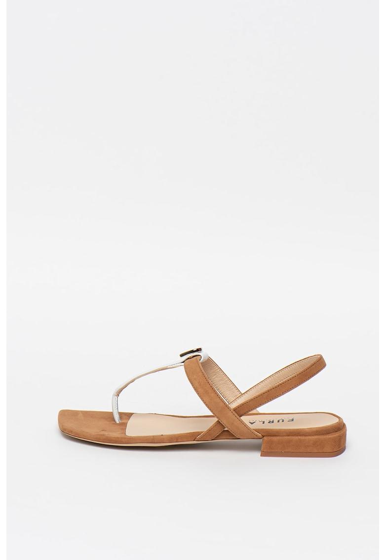 Sandale de piele intoarsa cu bareta separatoare