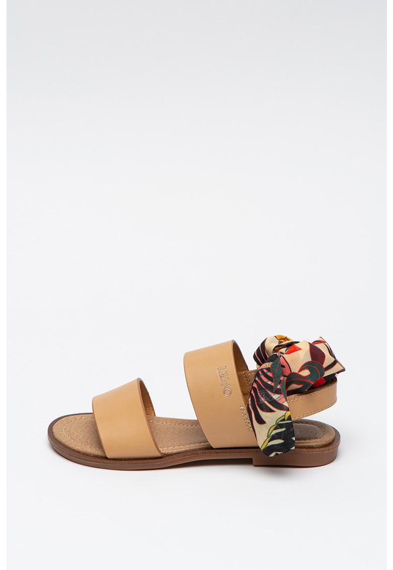 Sandale de piele ecologica - cu bareta infasurabila Sally
