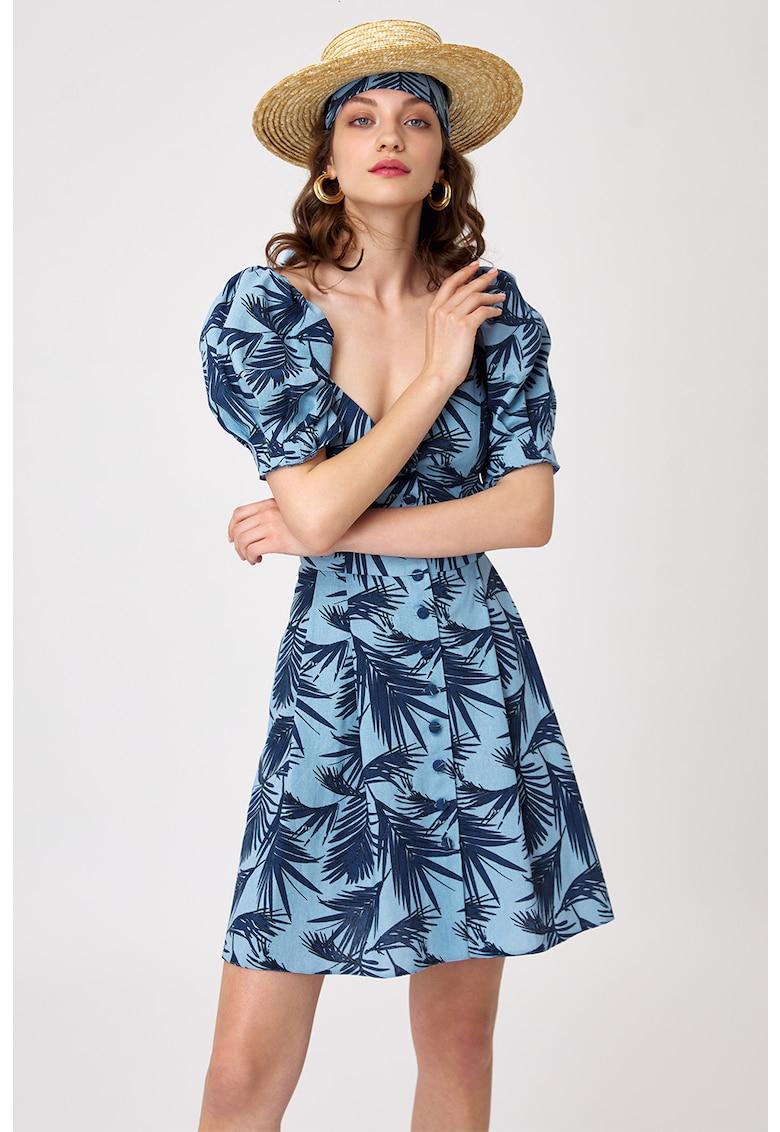 Rochie evazata din amestec de in - cu model tropical