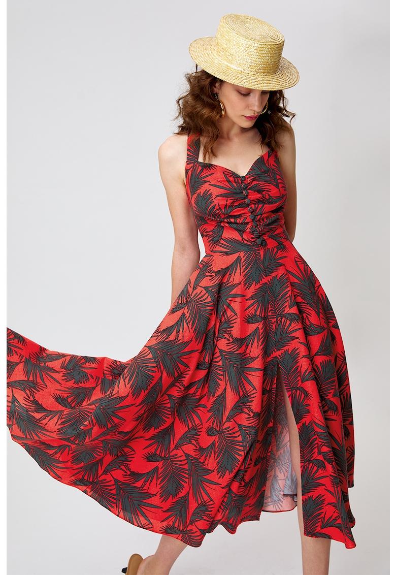 Rochie din amestec de in - cu model tropical