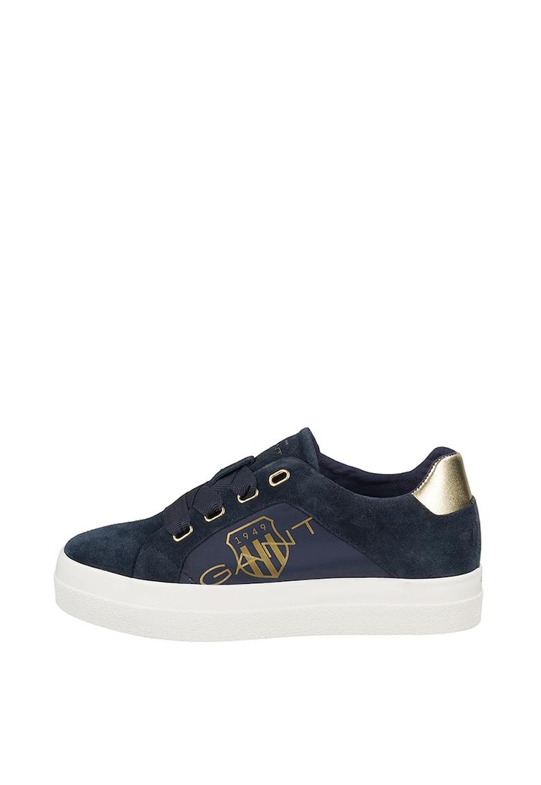 Pantofi sport de piele intoarsa si material textil - cu logo