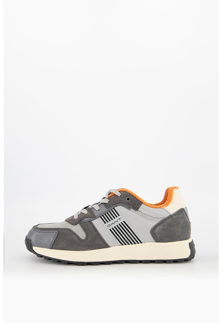 Pantofi sport colorblock cu garnituri de piele intoarsa
