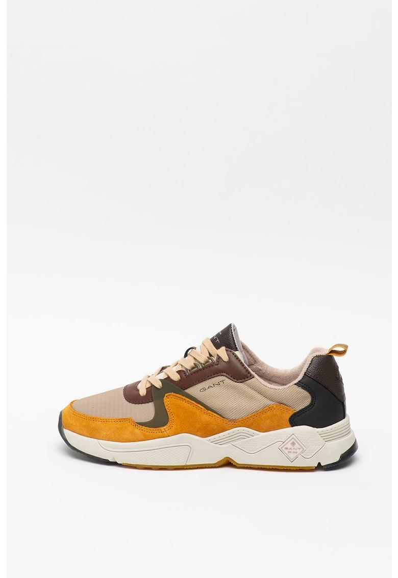Pantofi sport cu model colorblock si garnituri de piele intoarsa Nicewill