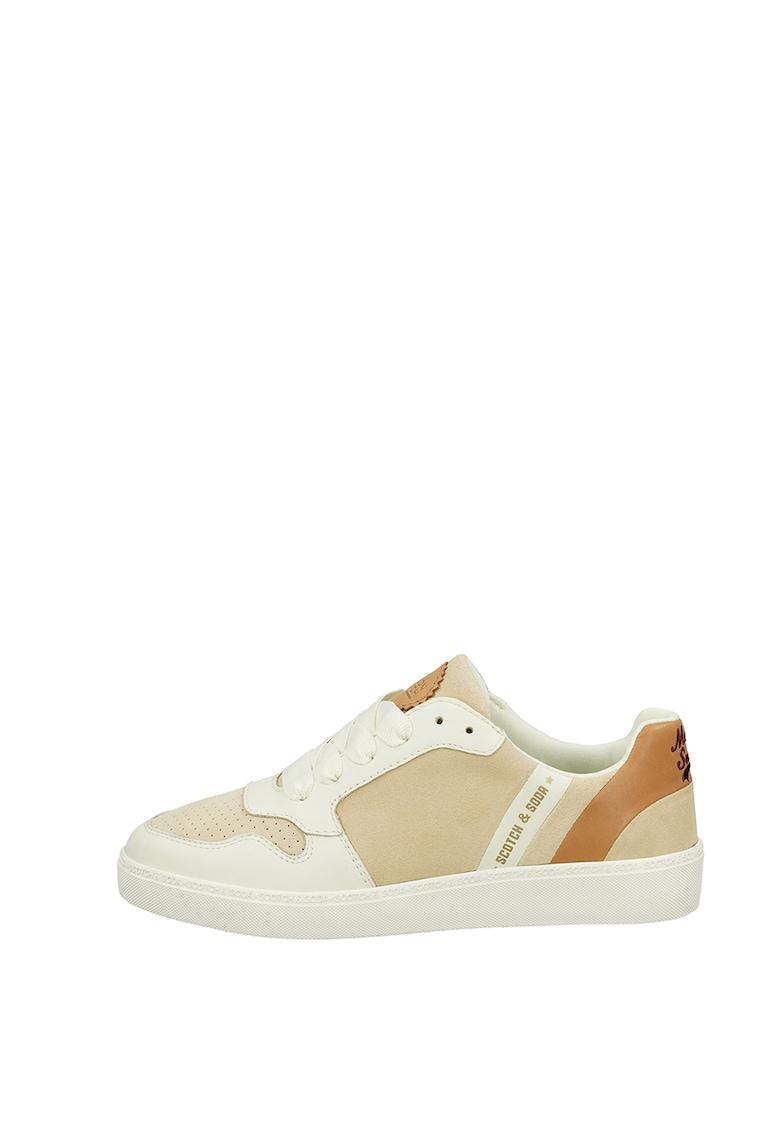 Pantofi sport din piele si piele intoarsa cu detalii perforate fashiondays.ro