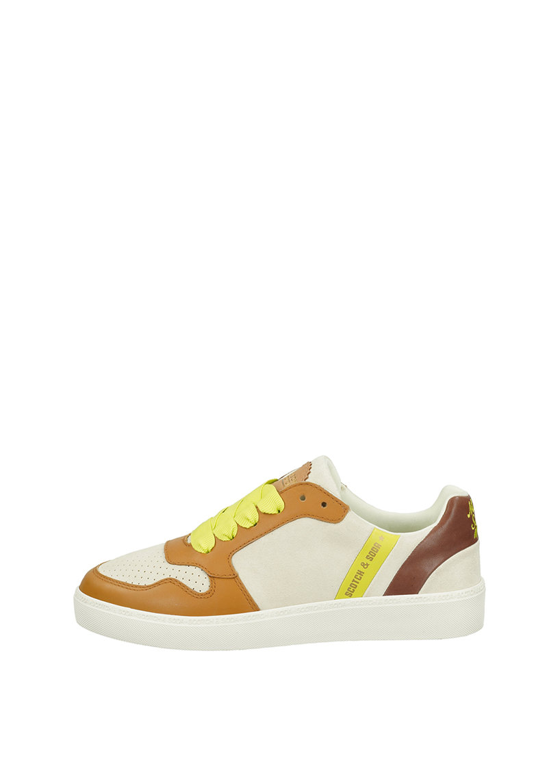 Pantofi sport din piele si piele intoarsa cu detalii perforate