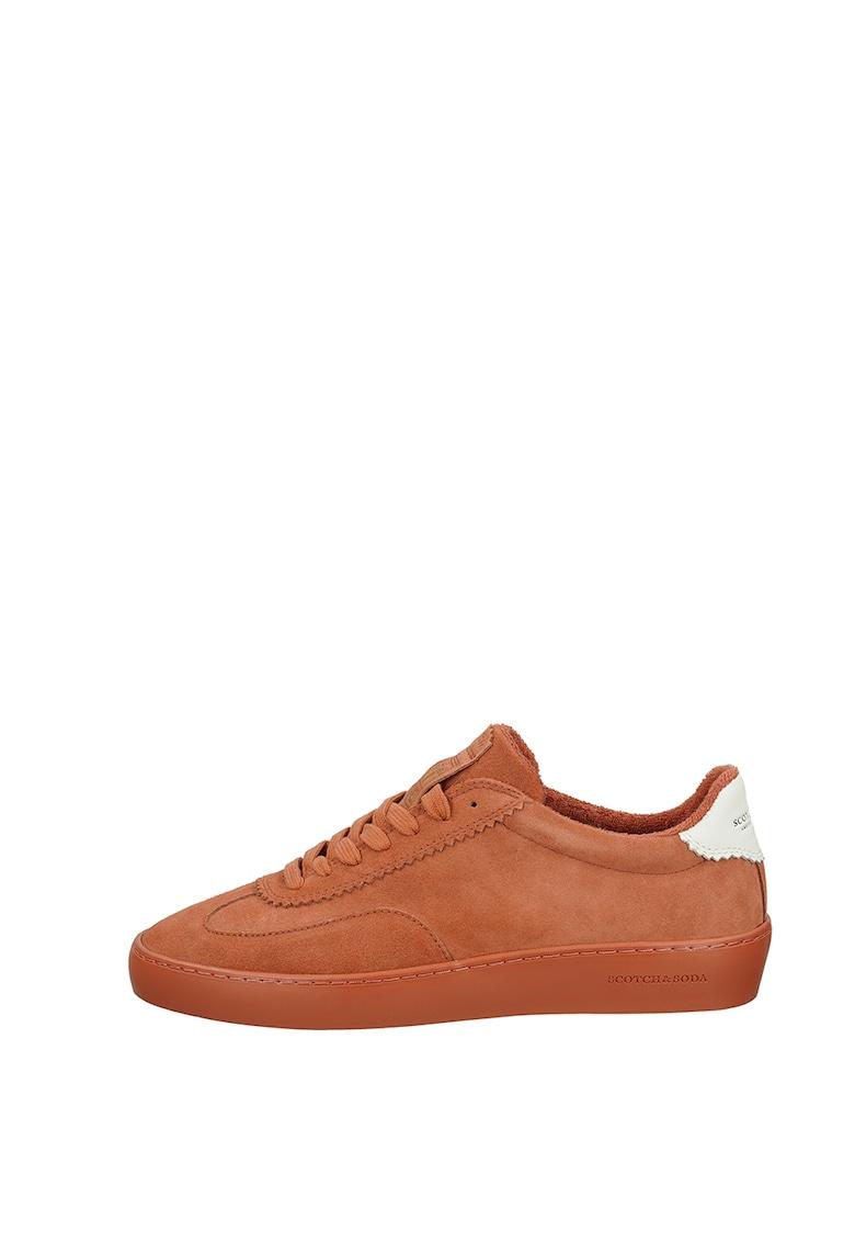 Pantofi sport din piele intoarsa cu terminatii valurite