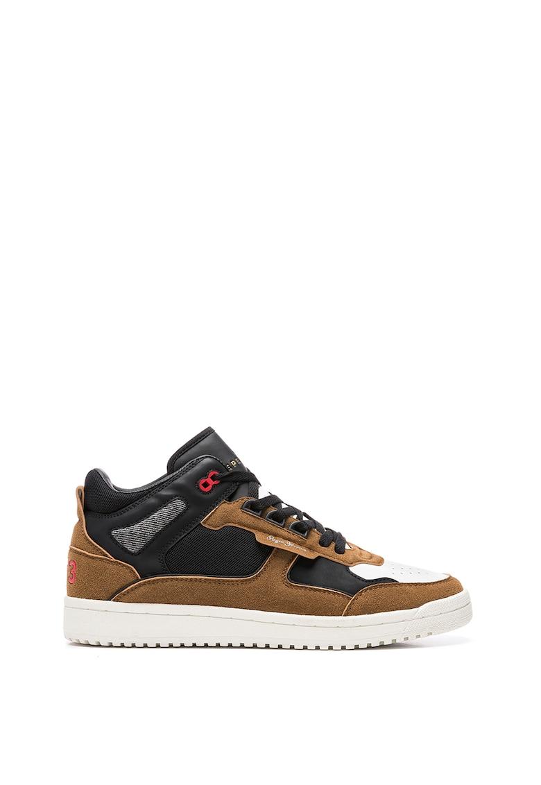 Pantofi sport din piele ecologica cu insertii din piele intoarsa ecologica