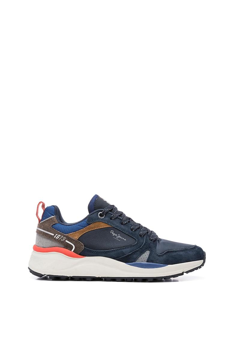 Pantofi sport din piele intoarsa cu insertii din plasa poza fashiondays