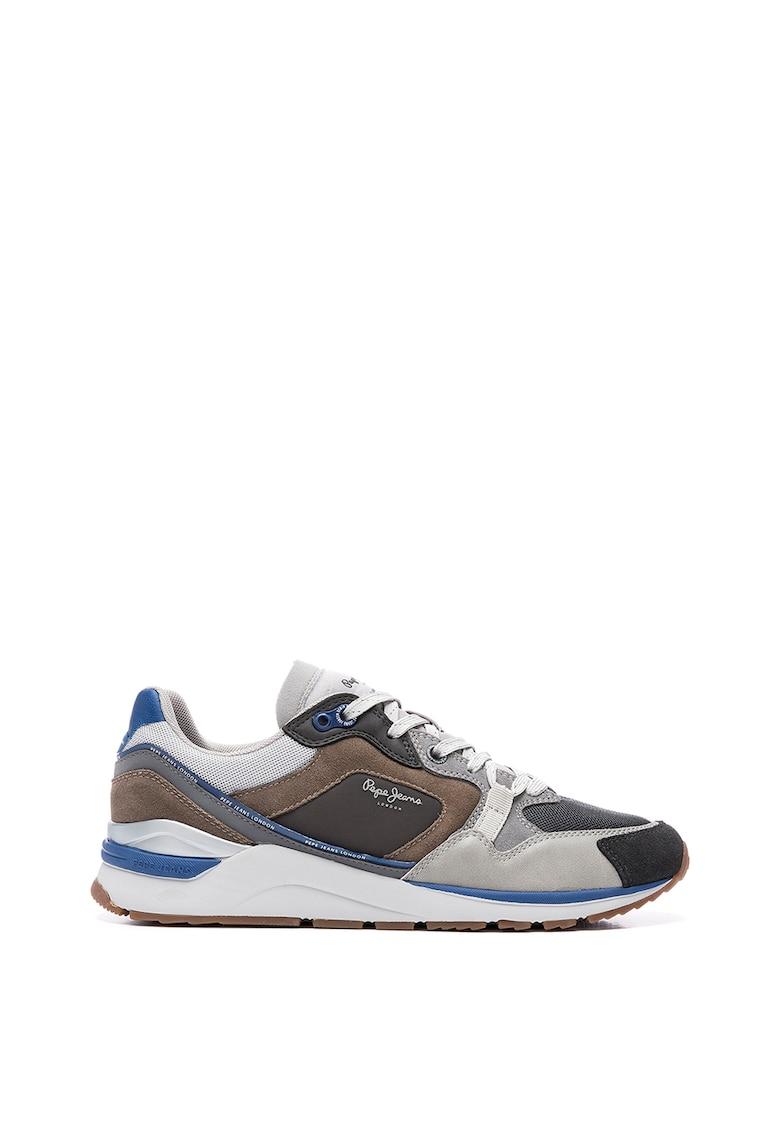 Pantofi sport din piele intoarsa ecologica cu insertii din plasa