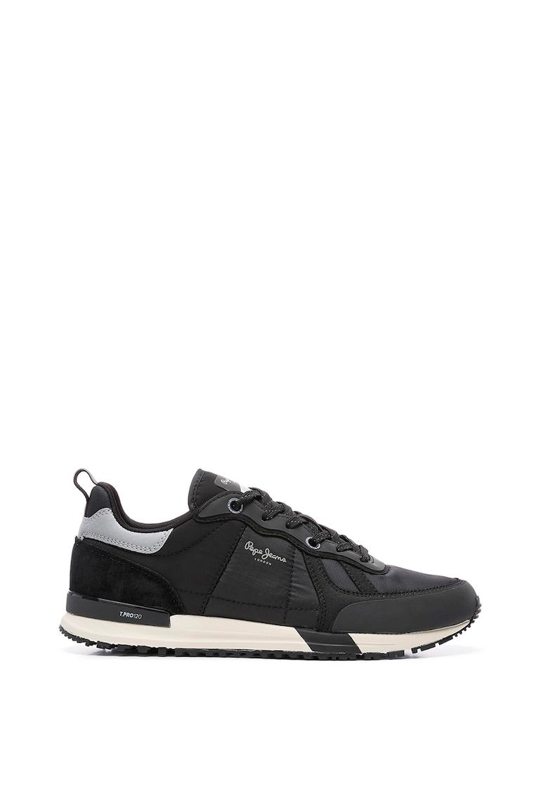 Pantofi sport din piele intoarsa cu insertii din plasa
