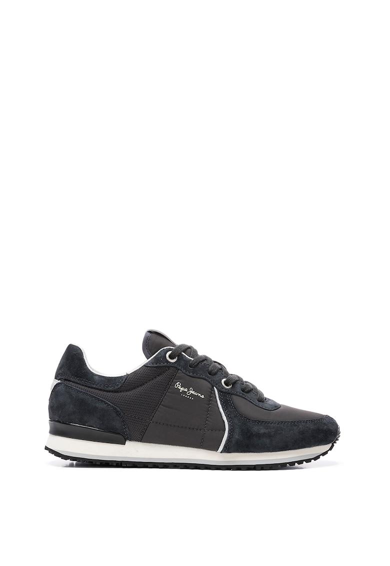 Pantofi sport din material textil si piele intoarsa