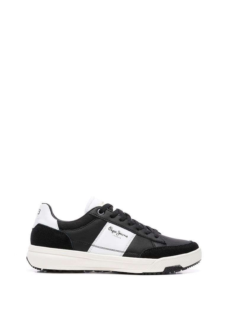 Pantofi sport din piele si piele intoarsa cu garnituri din material sintetic