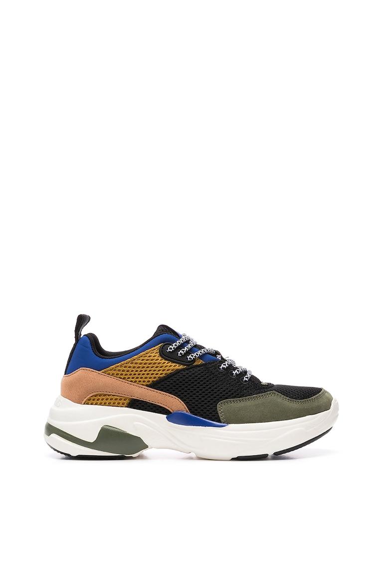 Pantofi sport cu model colorblock si garnituri din plasa
