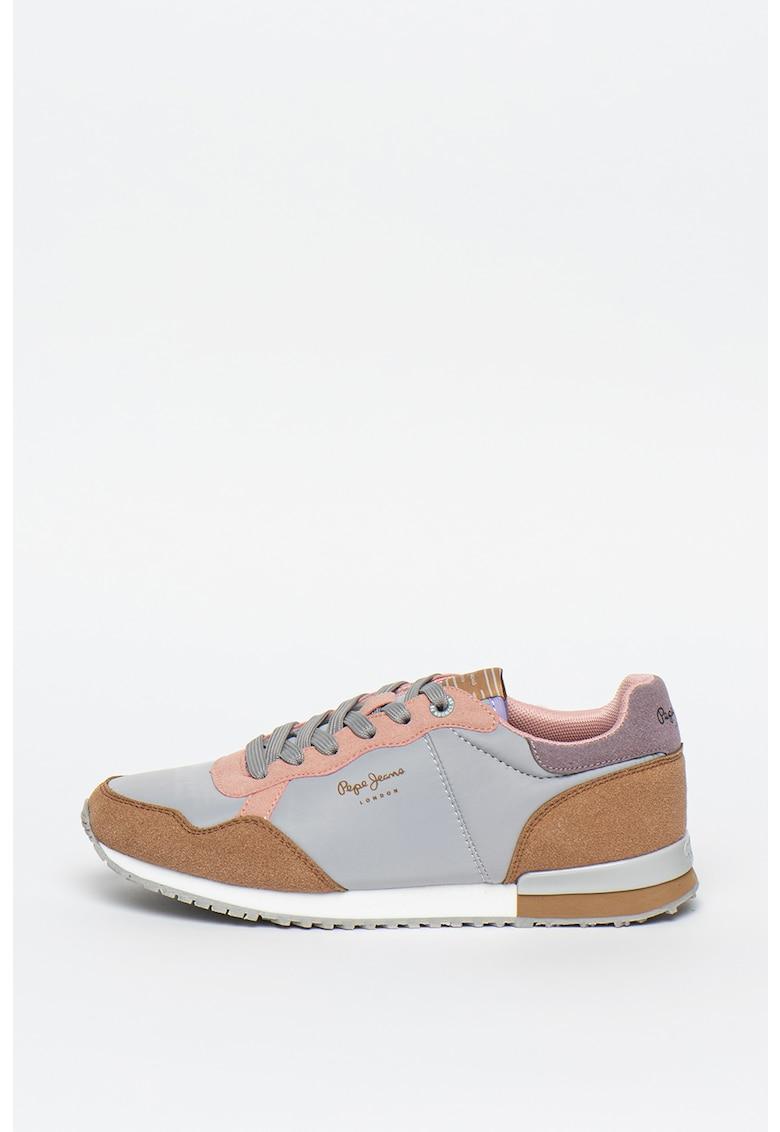 Pantofi sport cu model colorblock si logo