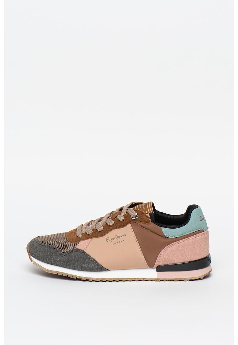 Pantofi sport cu model colorblock si logo 1