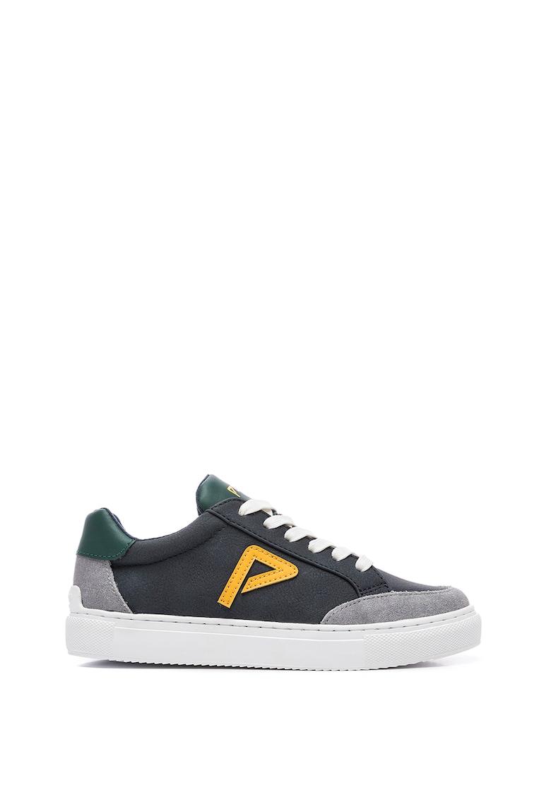Pantofi sport de piele ecologica cu detaliu logo