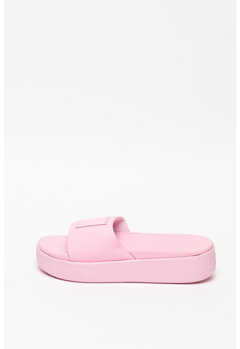 Papuci cu aplicatie logo Platform Wns imagine fashiondays.ro Puma