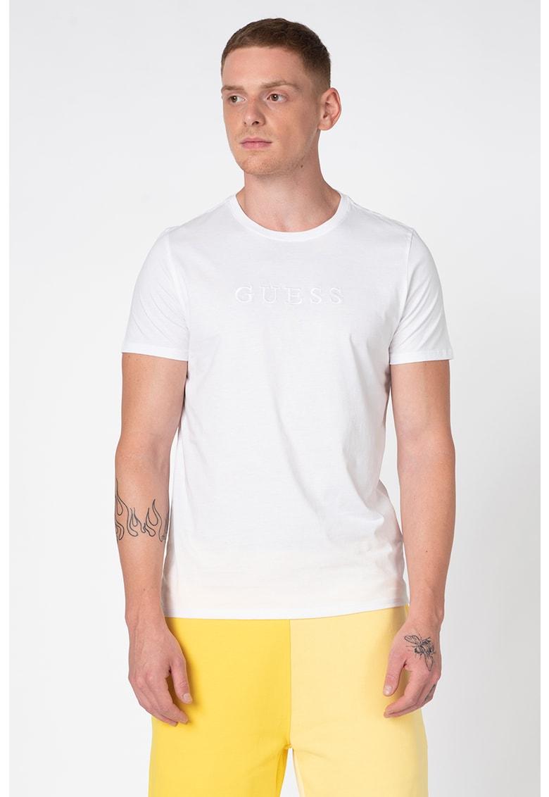 Tricou cu decolteu la baza gatului si logo brodat Bărbați imagine