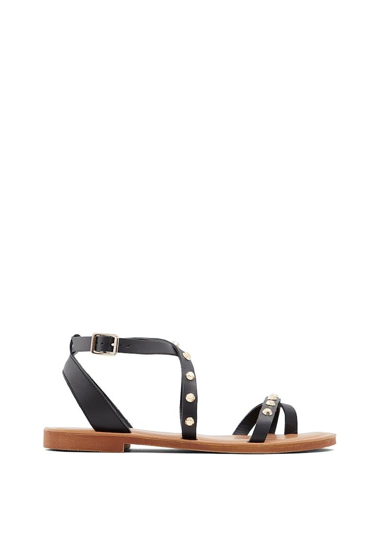 Sandale din piele cu aplicatii cu tinte Leila