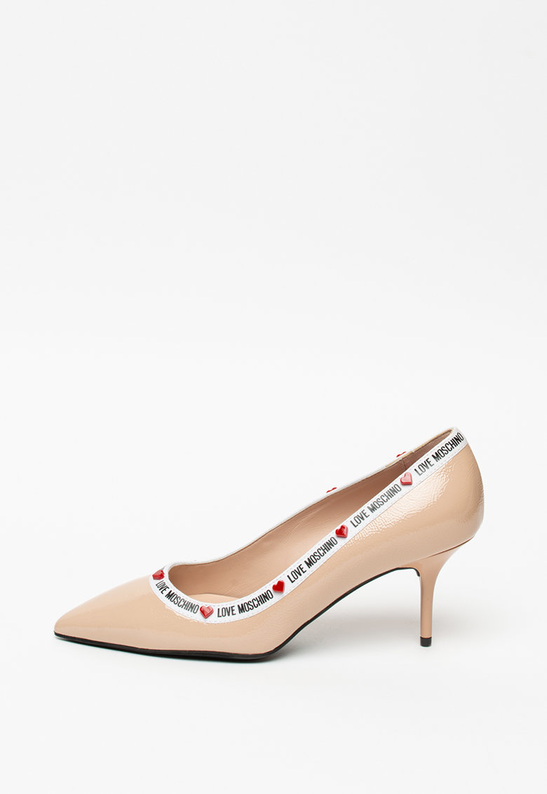 Pantofi cu varf ascutit si logo Vernice