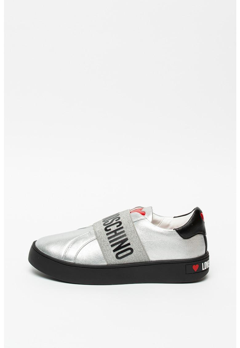 Pantofi sport slip-on cu insertii de piele
