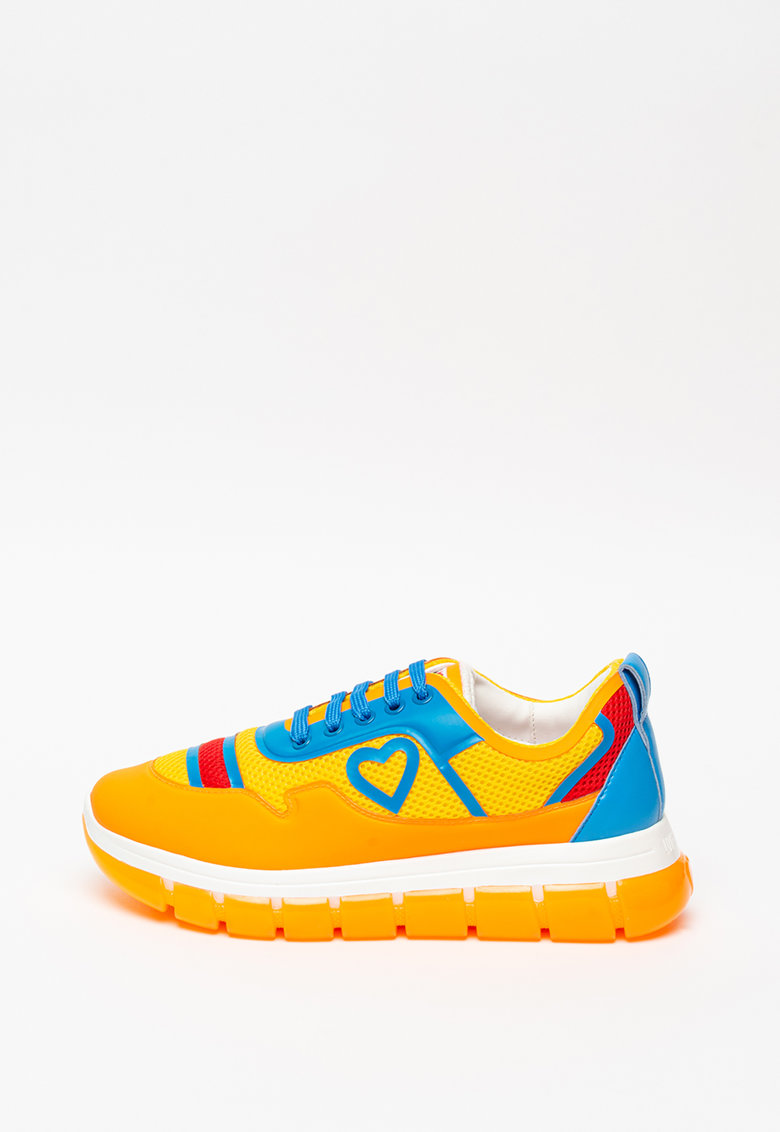 Pantofi sport de piele ecologica cu insertii de plasa
