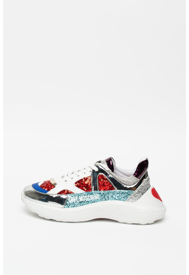 Pantofi sport cu aplicatii de paiete Love Moschino fashiondays.ro