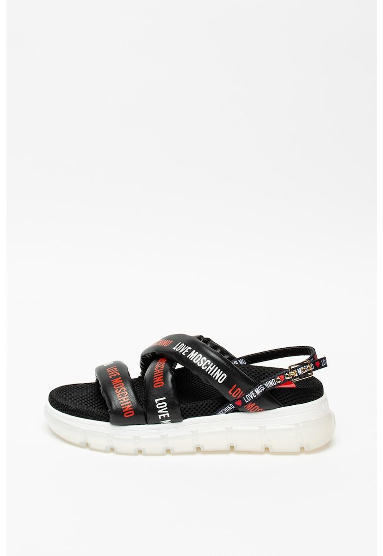 Sandale de piele ecologica cu model logo