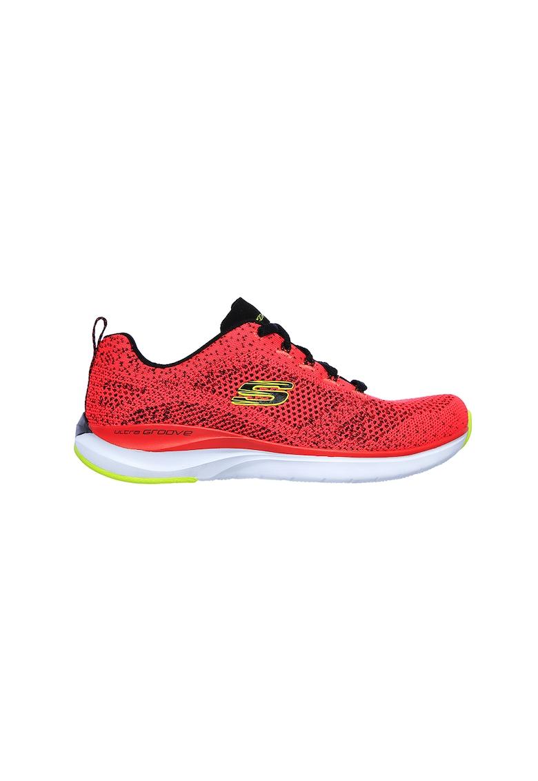 Pantofi sport cu insertii din material textil Ultra Groove Skechers imagine 2021