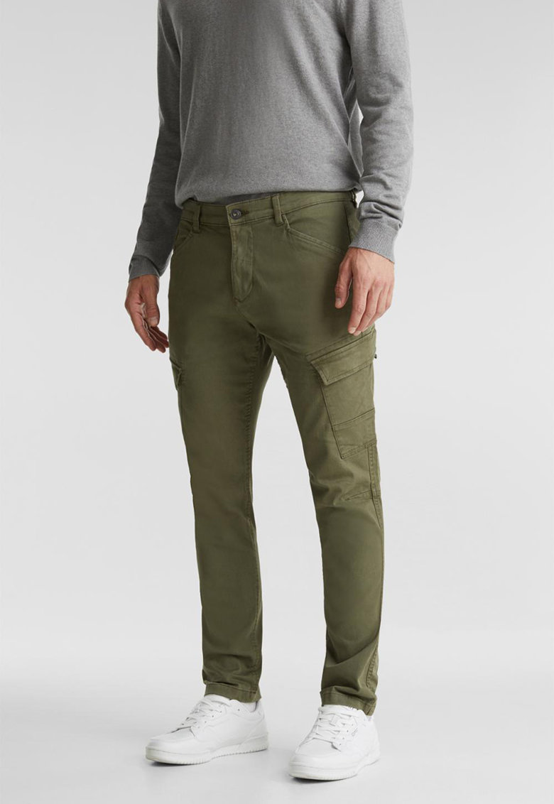 Pantaloni cargo slim fit din amestec de bumbac organic