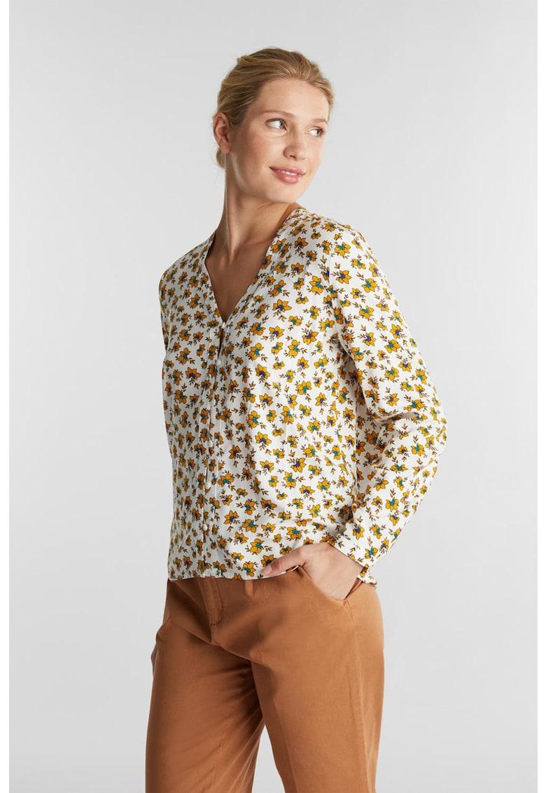Bluza cu decolteu in V si model floral imagine