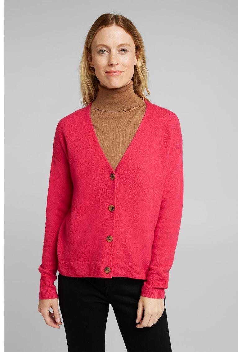 Cardigan din amestec de lana cu decolteu in V de la Esprit