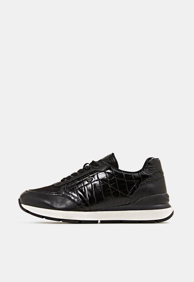 Pantofi sport din piele ecologica cu garnituri cu aspect de piele de crocodil