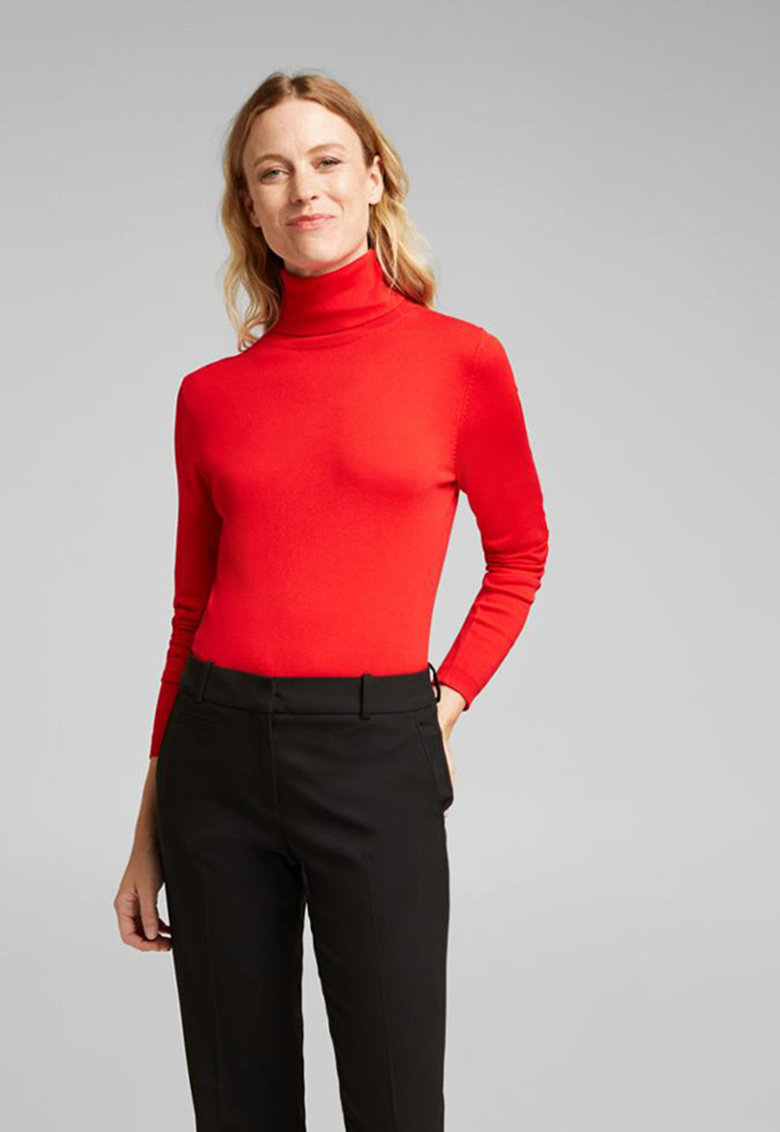 Pulover tricotat fin cu guler inalt de la Esprit