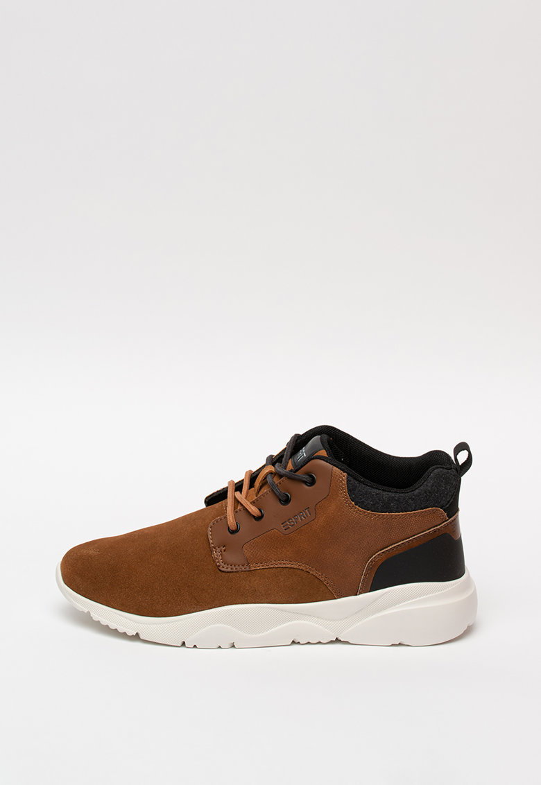 Pantofi casual cu insertii de piele intoarsa