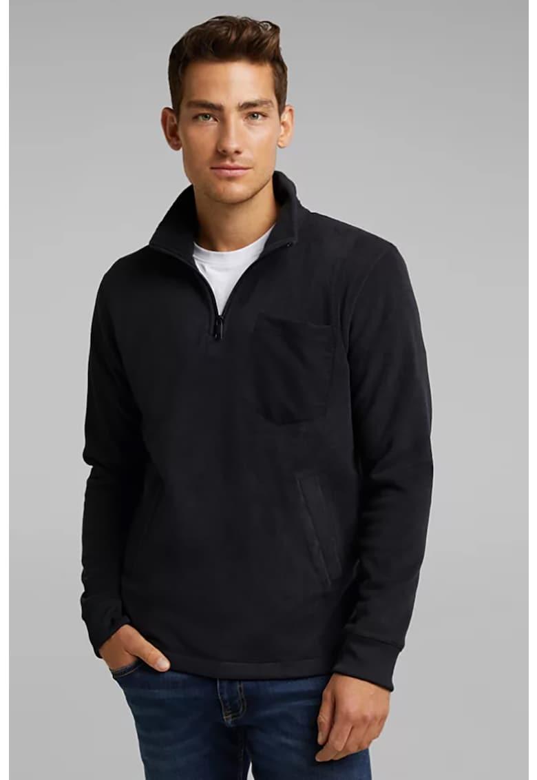 Bluza sport din fleece cu buzunar pe piept