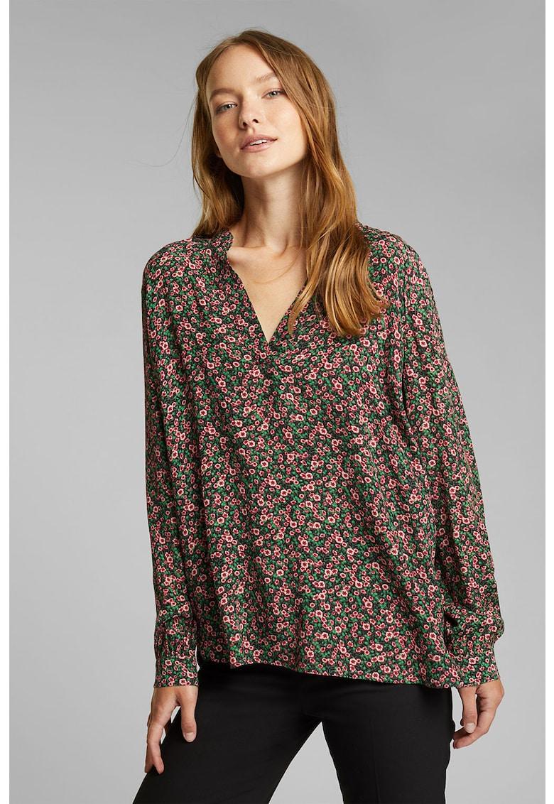 Bluza cu decolteu in V si imprimeu floral imagine