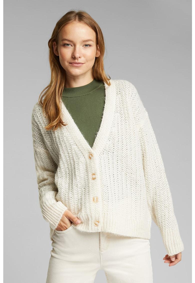 Cardigan din amestec de lana cu decolteu in V